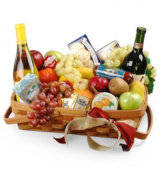 Корзина вино фрукты в подарок 312